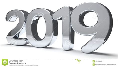 Year 2019 Silver Metallic Bold Numbers 3d Render Stock