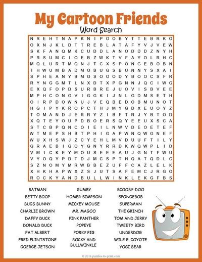 Cartoon Word Search Puzzles Printable