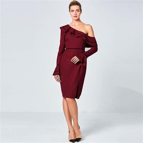 Wine Red Asymmetric One Shoulder Autumn Pencil Dress Flare