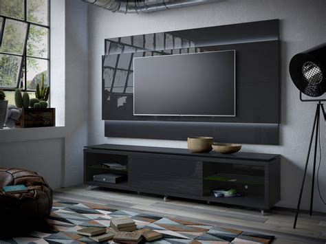 Tv Paneel Wand by Lincoln 2 4 Black Gloss Matte Mdf Tv Stand And Floating