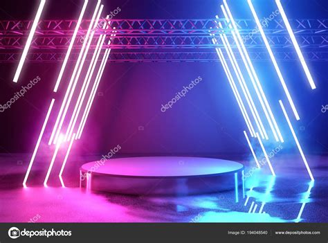 illuminazione neon illuminazione al neon e fase piattaforma foto stock