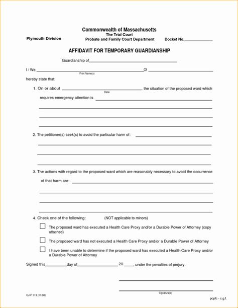 20842 temporary guardianship forms temporary guardianship form free the best