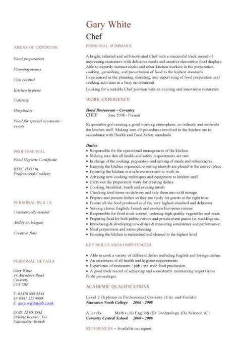 Assistant Cook Resume Format by Free Catering Cv Template Sles Catering Event