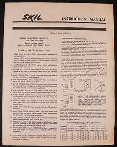 Skil Model 548 Router Instruction Manual And 50 Similar Items