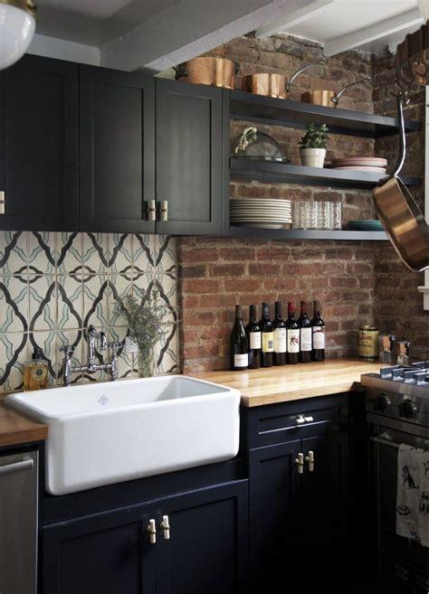 black farmhouse kitchen  brick backsplash