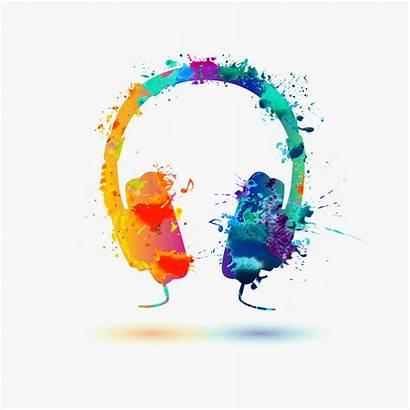 Watercolor Headphone Bright Headphones Vector Icon Radio