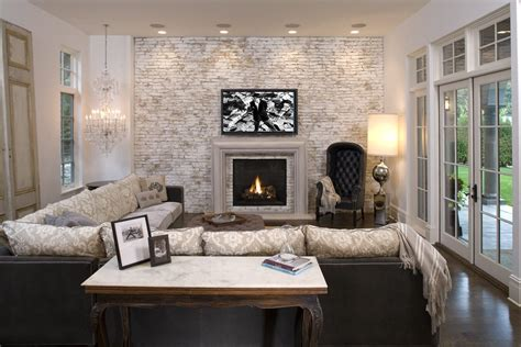 white brick fireplace family room mediterranean with accent wall ventless inserts