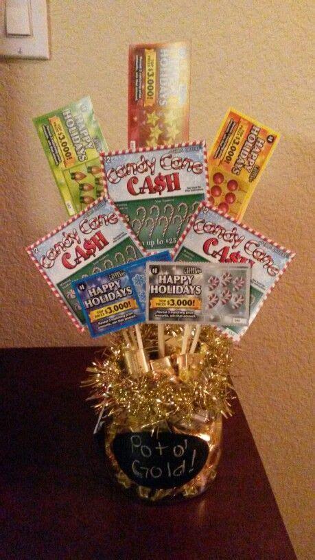 pot  gold lottery ticket bouquet gift idea fill bottom