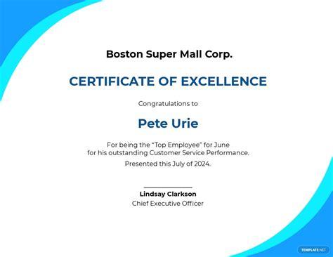 editable customer service certificate word psd