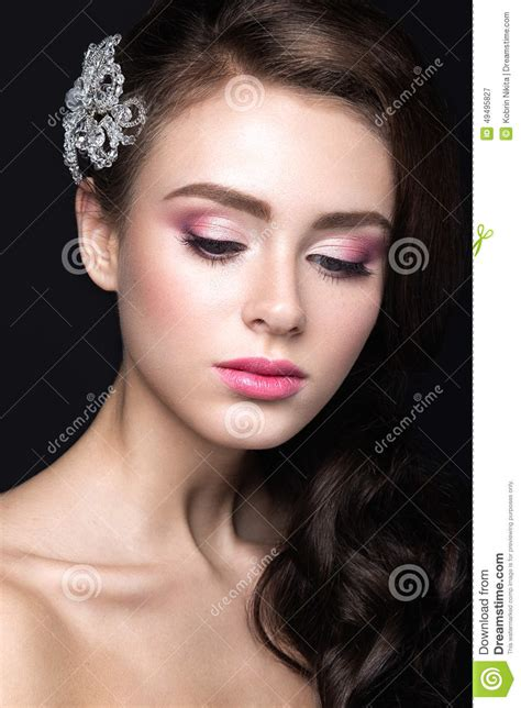 Beautiful Girl With Perfect Skin Pink Lips And Curls