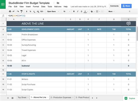Templates Film by Download Your Free Film Budget Template For Film Video