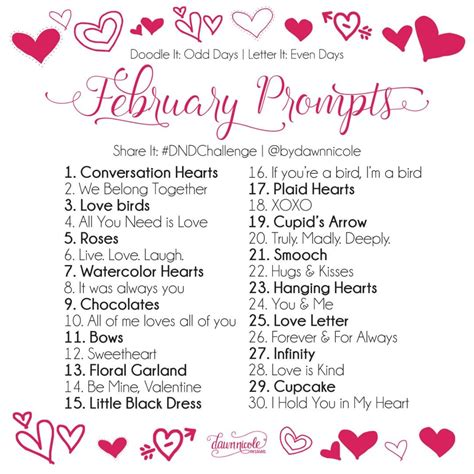 day challenge february prompts dawn nicole designs
