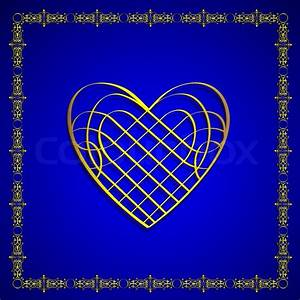 Golden Heart With Calligraphy Elements On Blue
