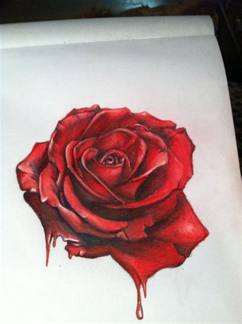 Bed Roses Tattoo drawn red rose pencil   color drawn red rose 736 x 985 · jpeg
