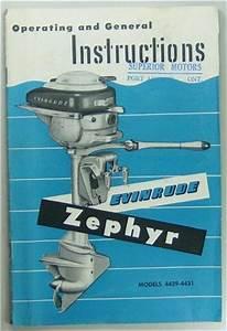 Original Evinrude Zephyr Outboard Motor Owners Manual