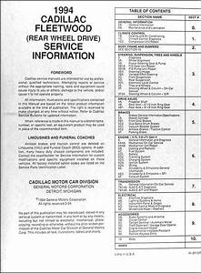 1994 Cadillac Fleetwood And Brougham Shop Manual 94