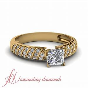 Cheap yellow gold engagement rings princess cut pave set for Cheap princess cut wedding rings
