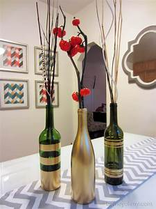 DIY Spray Painted Wine Bottles for Fall Decorating - Homey