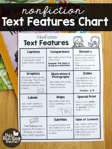 nonfiction text features chart nonfiction text features