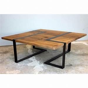 table basse carree bois et metal ezooqcom With table salon bois metal