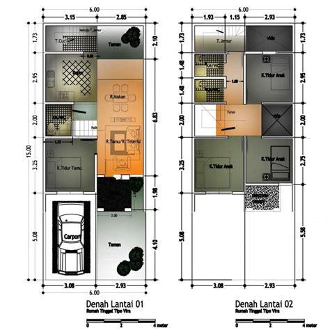 gambar denah rumah minimalis ukuran 6x10 terbaru floor
