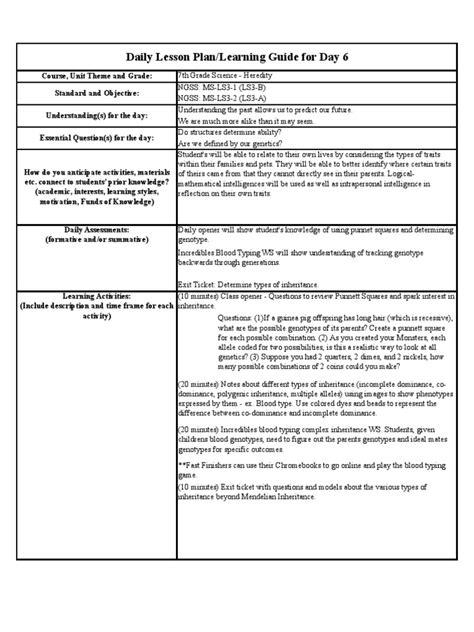 Observation 1  Lesson Plan 0125