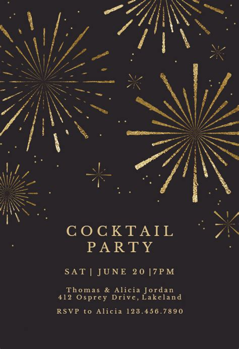 golden fireworks cocktail party invitation template