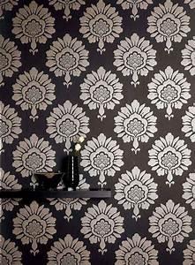 Papier Peint Rayé Noir Et Blanc : 85 papiers peints salon aux motifs floraux et baroques ~ Dailycaller-alerts.com Idées de Décoration