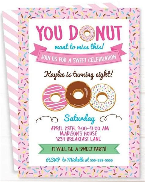 printable donuts invitation templates