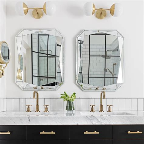 Bathroom Mirrors Cut To Size by Ivory Subway Tiles With Beveled Medicine Cabinet