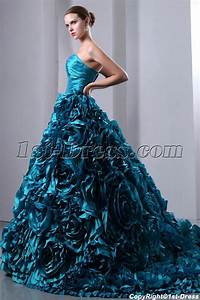 luxurious teal blue 3d handmade floral bridal gowns 2014 With teal blue wedding dresses