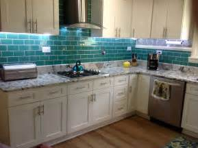 subway tile kitchen backsplashes emerald green glass subway tile updated kitchen backsplash