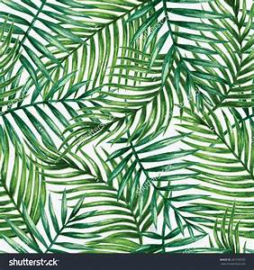 Watercolor tropical palm leaves seamless pattern. Vector ...