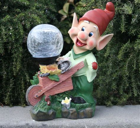 colorful garden statue with solar light