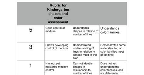 art   hands rubric  kindergarten assessment