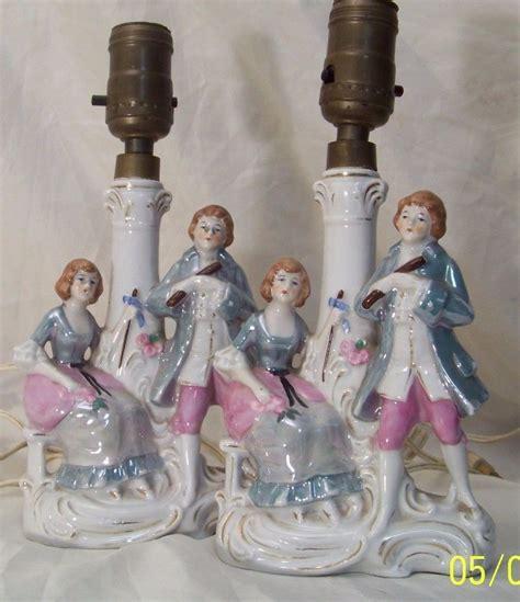 antique porcelain figurine table ls pair antique provincial courting couple porcelain figural