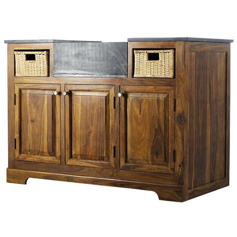 cuisine classique chic meuble bas de cuisine en bois de sheesham massif l 120 cm