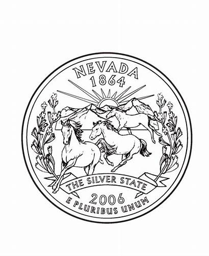 Nevada Coloring State Quarter States Usa Quarters