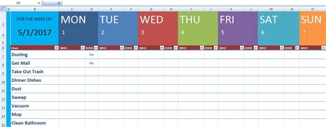 cleaning schedule template xls  excel