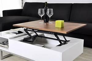 Table Basse Avec Plateau Relevable : innovation table de salon relevable ~ Teatrodelosmanantiales.com Idées de Décoration