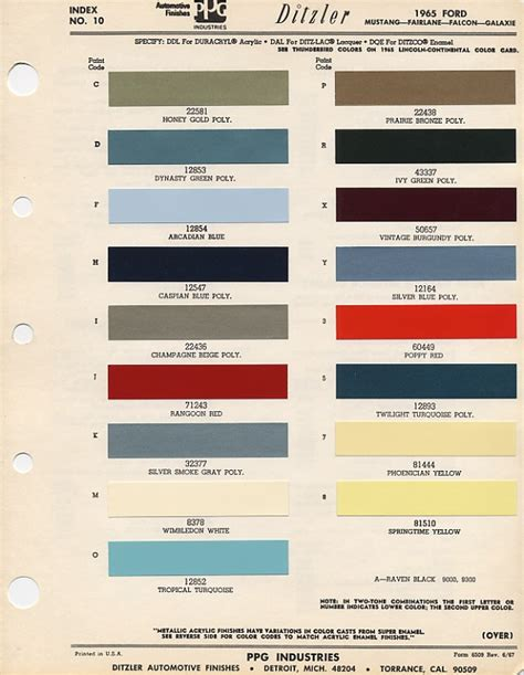 original paint colors for cars 1965 mustang exterior paint codes cool i d to one of these salesman s books