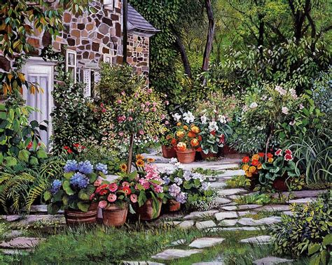 Visiting  Susan Rios Paintings Dreamy Floral Garden Path