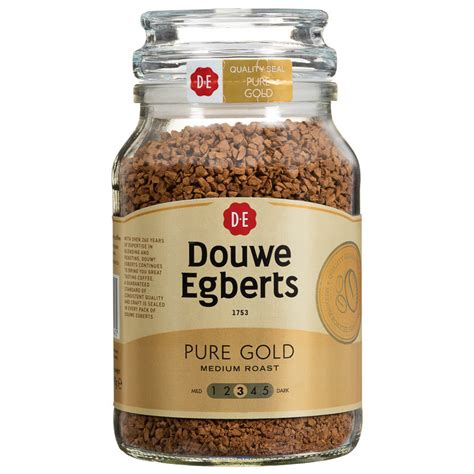 Jacobs douwe egberts is a dutch company that owns numerous beverage brands (coffee, tea and hot chocolate). Douwe Egberts Pure Gold Medium Coffee 190g   Hot Drinks
