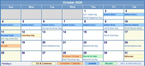 october calendar holidays picture