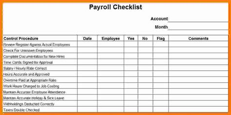 payroll checklist template technician salary slip