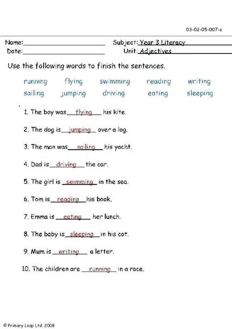 adjectives worksheet grade