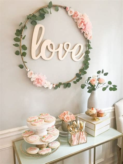 Diy Hula Hoop Love Sign Party Wall Decorations Gold