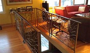 Steel railing with tree branches eclectic staircase for Kitchen cabinets lowes with metal tree branch wall art