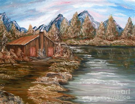 cabin by the lake my cabin by the lake painting by cook