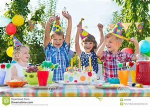 Group Of Kids Having Fun At Birthday Party Stock Photo ...